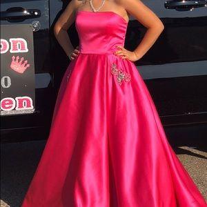 Sherri Hill long strapless dress - Pink